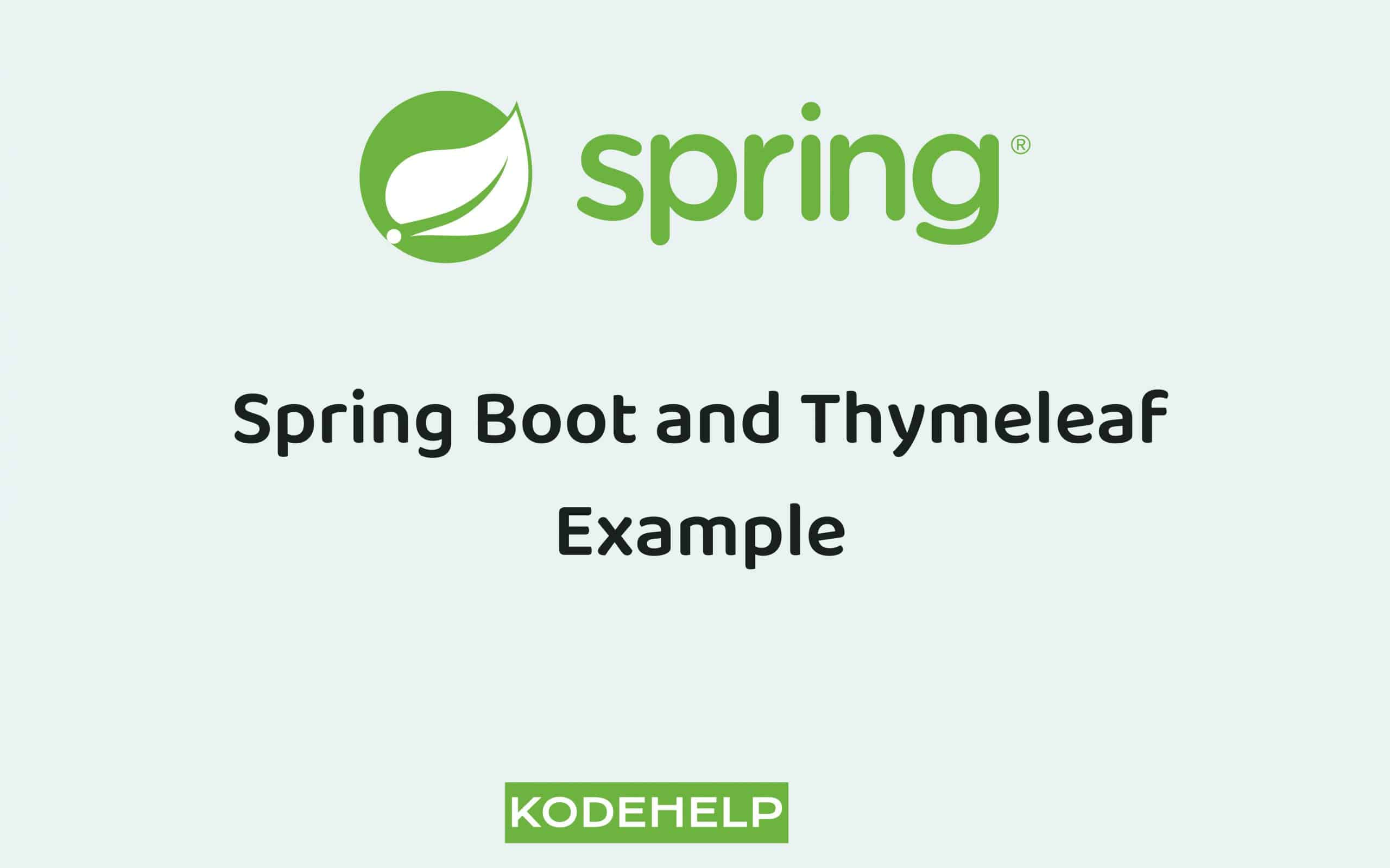 Web Application with Spring Boot and Thymeleaf Example